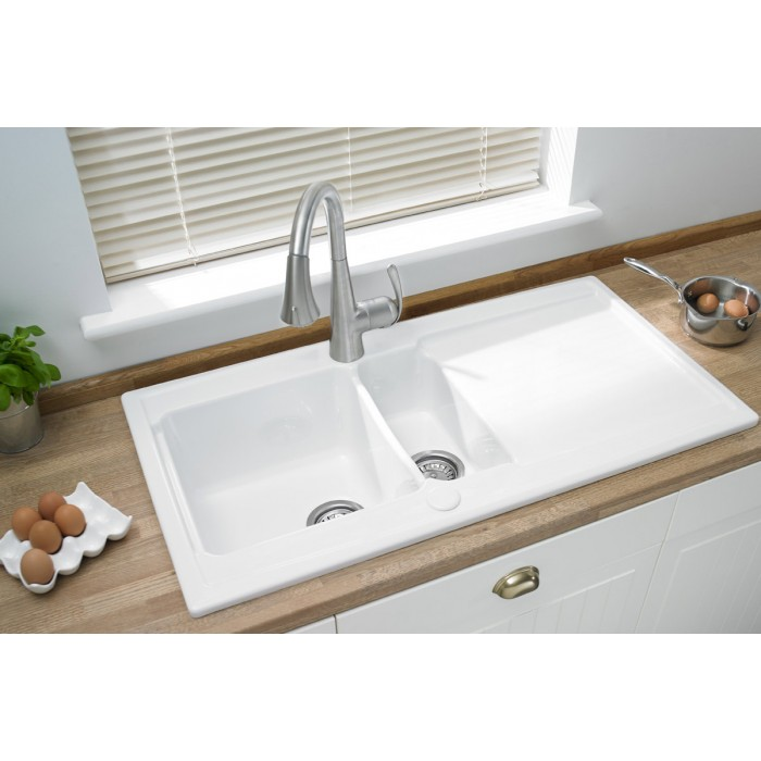 Ceramic Large One and a Half Inset Sink