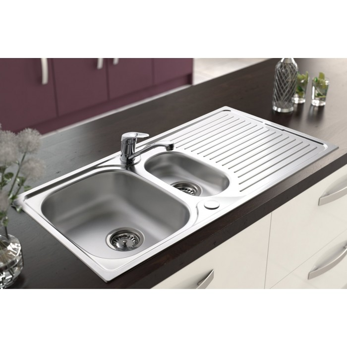 Stainless Steel Inset Sink and Tap - One and a Half