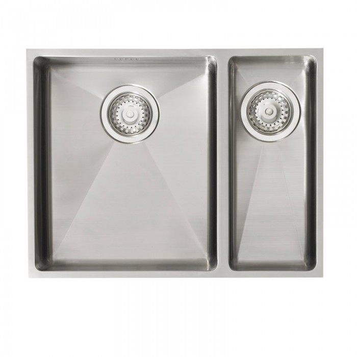 Stainless steel square undermount one and a half sink with rhd - Square stainless steel bathroom sink ...
